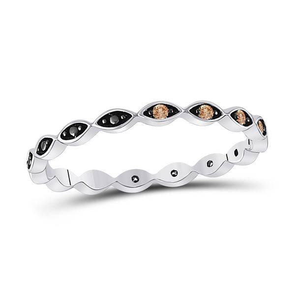 Round Brown Diamond Band Ring 1/10 Cttw 10KT White Gold
