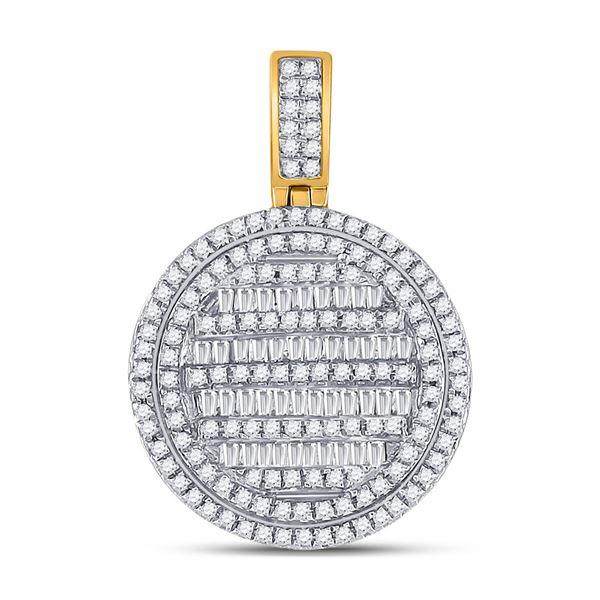 Baguette Diamond Circle Charm Pendant 3/4 Cttw 10KT Yellow Gold