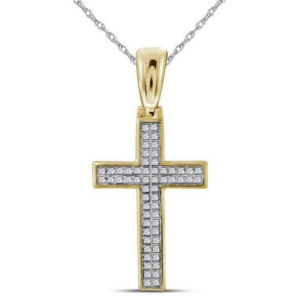 Round Diamond Small Cross Charm Pendant 1/6 Cttw 10KT Yellow Gold