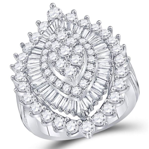 Round Diamond Marquise-shape Cluster Ring 3 Cttw 14KT White Gold