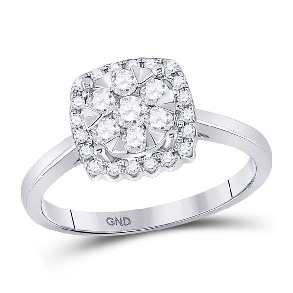 Round Diamond Right-Hand Cluster Ring 1/2 Cttw 10KT White Gold