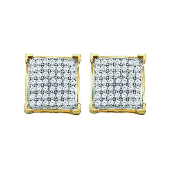 Round Pave-set Diamond Square Cluster Earrings 1/10 Cttw 10KT Yellow Gold