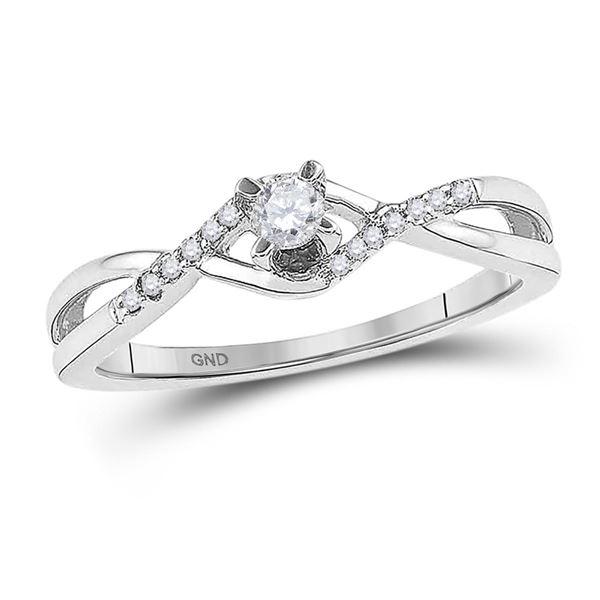 Diamond Solitaire Twist Bridal Wedding Engagement Ring 1/6 Cttw 10KT White Gold