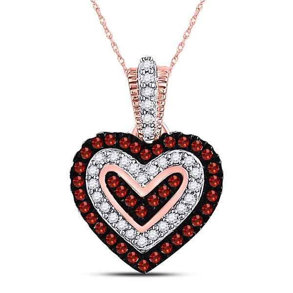 Round Red Color Enhanced Diamond Small Heart Pendant 1/5 Cttw 10KT Rose Gold
