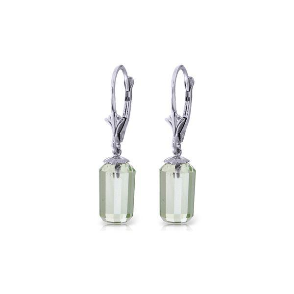 Genuine 9 ctw Green Amethyst Earrings 14KT White Gold - REF-25T6A