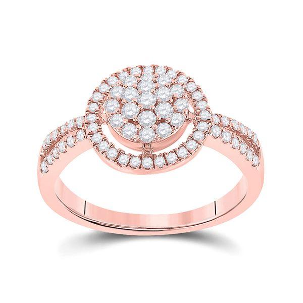 Round Diamond Circle Cluster Ring 1/2 Cttw 10KT Rose Gold