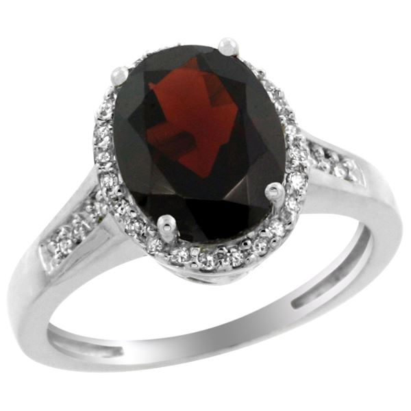 2.60 CTW Garnet & Diamond Ring 14K White Gold - REF-57Y5V
