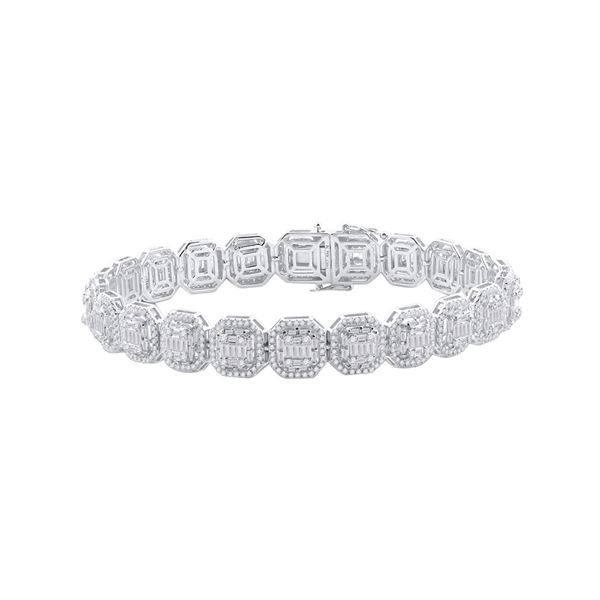 Baguette Diamond Link Bracelet 7-3/4 Cttw 14KT White Gold
