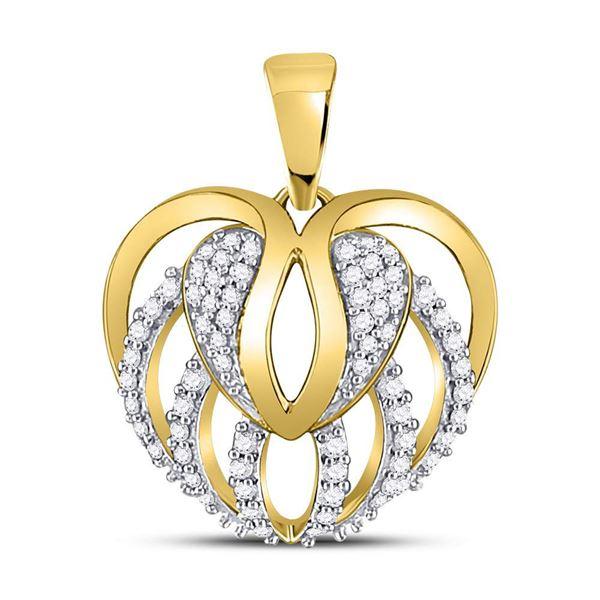 Round Diamond Heart Open Strand Pendant 1/5 Cttw 10KT Yellow Gold