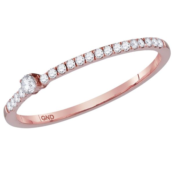 Round Diamond Stackable Band Ring 1/8 Cttw 14KT Rose Gold