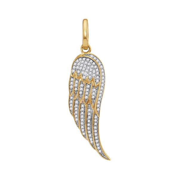 Round Diamond Feather Wing Charm Pendant 1/3 Cttw 10KT Yellow Gold