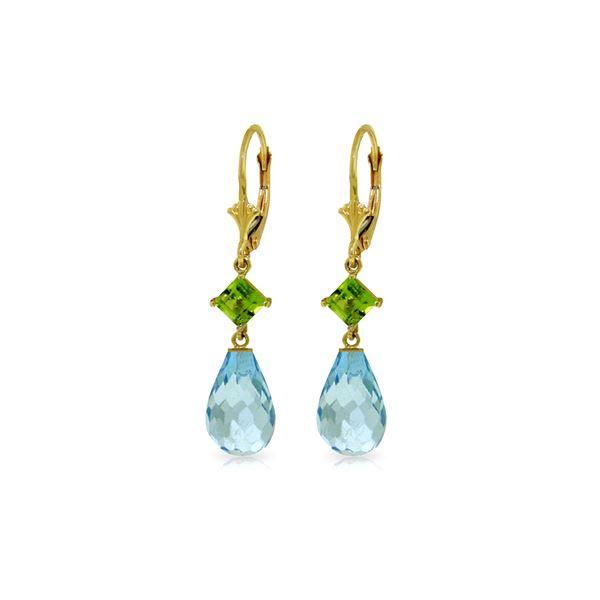 Genuine 11 ctw Blue Topaz & Peridot Earrings 14KT Yellow Gold - REF-39M3T