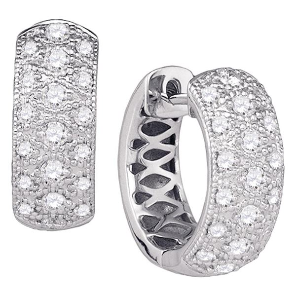 Round Diamond Hoop Huggie Earrings 7/8 Cttw 14KT White Gold