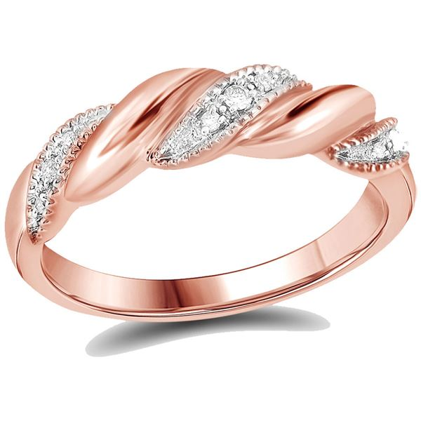 Round Diamond Milgrain Crossover Band Ring 1/20 Cttw 14KT Rose Gold