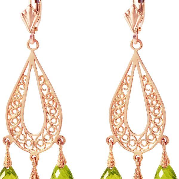 Genuine 3.75 ctw Peridot Earrings 14KT Rose Gold - REF-45P8H
