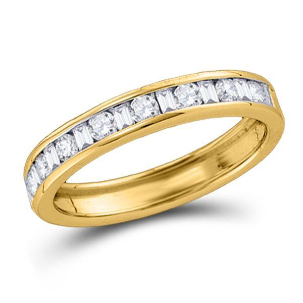 Machine Set Round Diamond Wedding Anniversary Band 1/4 Cttw 14KT Yellow Gold