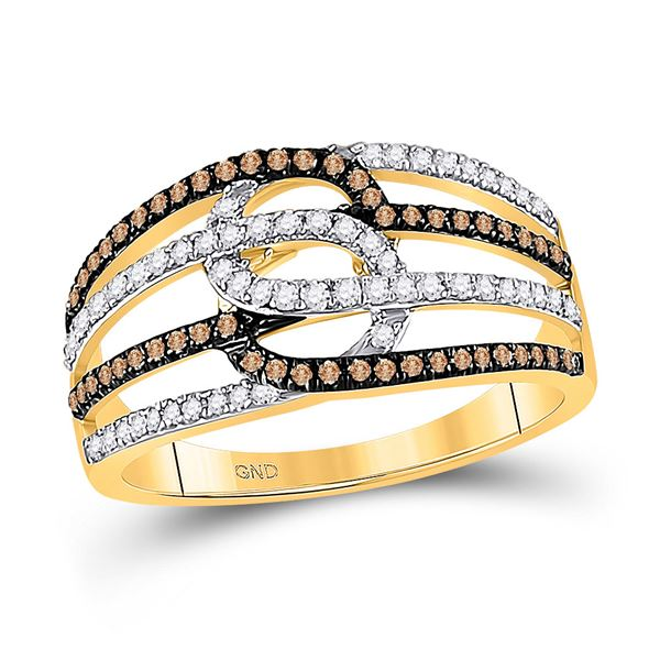 Round Brown Diamond Linked Loop Band Ring 1/2 Cttw 10KT Yellow Gold