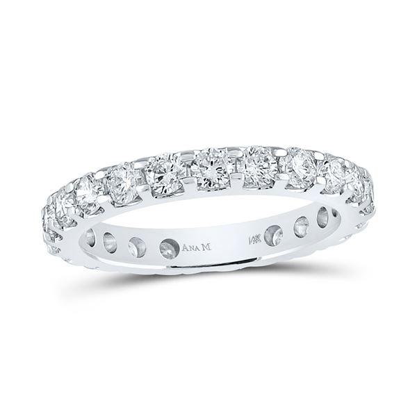 Machine-Set Round Diamond Wedding Band 2 Cttw 14KT White Gold