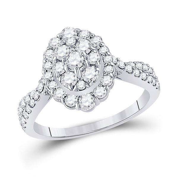 Diamond Oval Bridal Wedding Engagement Ring 1 Cttw 10KT White Gold
