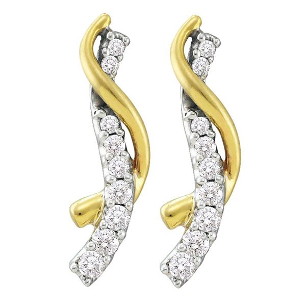 Round Diamond Journey Earrings 1/2 Cttw 14KT Yellow Gold
