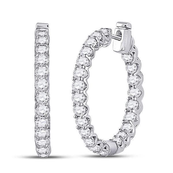 Round Diamond Hoop Earrings 3 Cttw 14KT White Gold