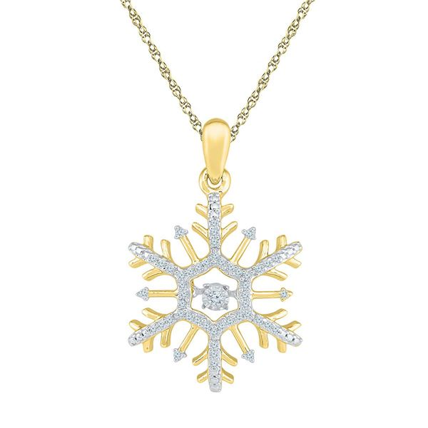 Round Diamond Snowflake Winter Cluster Pendant 1/6 Cttw 10KT Yellow Gold