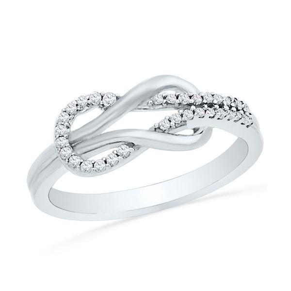 Round Diamond Double Lasso Infinity Ring 1/6 Cttw 10KT White Gold