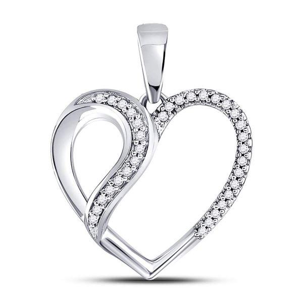 Round Diamond Heart Fashion Pendant 1/10 Cttw 10KT White Gold