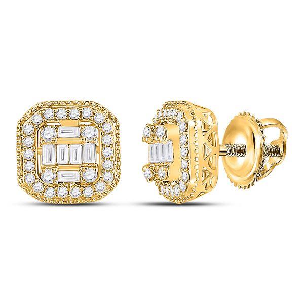 Baguette Diamond Cluster Fashion Earrings 3/8 Cttw 14KT Yellow Gold