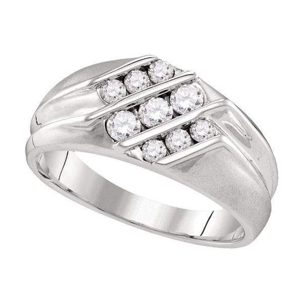 Round Diamond Wedding Triple Row Band Ring 5/8 Cttw 10KT White Gold