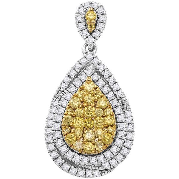 Round Yellow Diamond Teardrop Cluster Pendant 1-1/2 Cttw 14KT White Gold