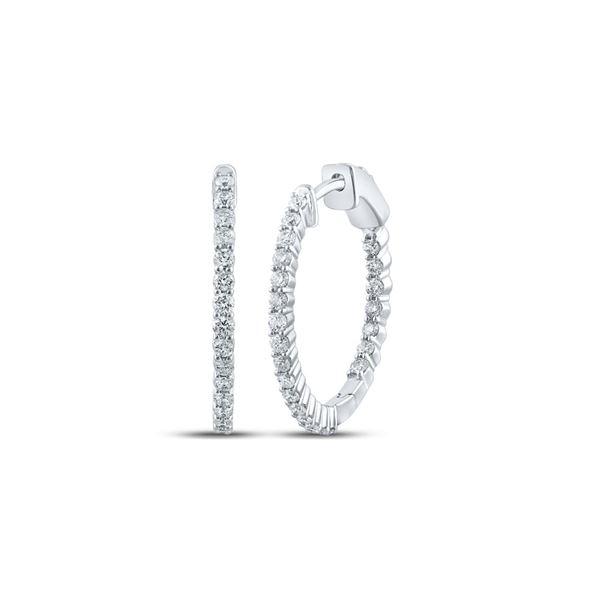 Round Inside Outside Diamond Hoop Earrings 1 Cttw 10KT White Gold