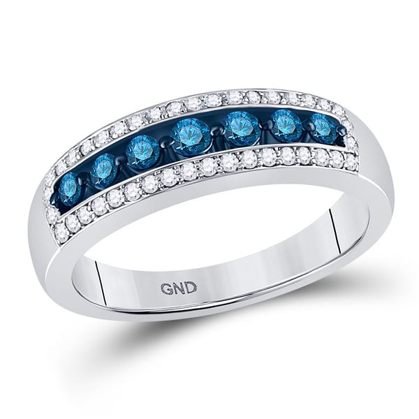 Round Blue Color Enhanced Diamond Band Ring 1/2 Cttw 10KT White Gold