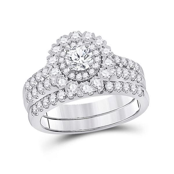 Diamond Bridal Wedding Ring Band Set 1-3/8 Cttw 14KT White Gold
