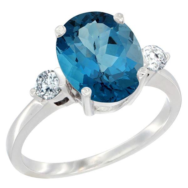 2.60 CTW London Blue Topaz & Diamond Ring 14K White Gold - REF-69M3A