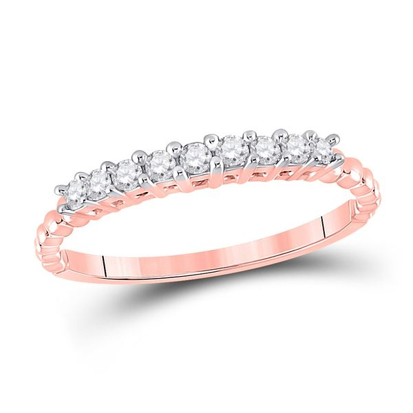 Round Diamond Single Row Band Ring 1/4 Cttw 10KT Rose Gold