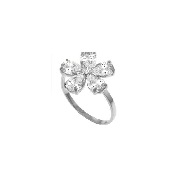 Genuine 2.22 ctw White Topaz & Diamond Ring 14KT White Gold - REF-35R9P