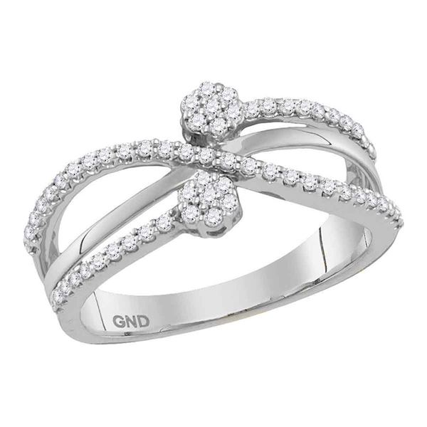 Round Diamond Flower Cluster Crossover Band Ring 1/3 Cttw 10KT White Gold
