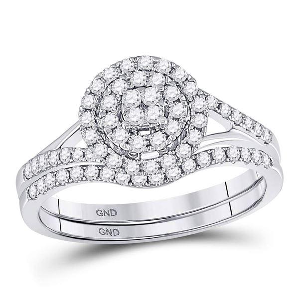 Diamond Cluster Bridal Wedding Ring Band Set 1/2 Cttw 14KT White Gold