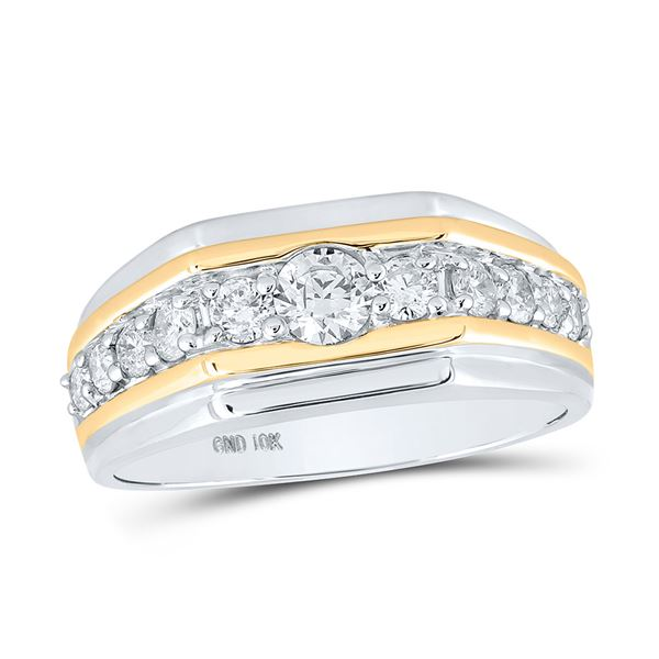 Round Diamond Flat Band Ring 1 Cttw 10KT Two-tone Gold