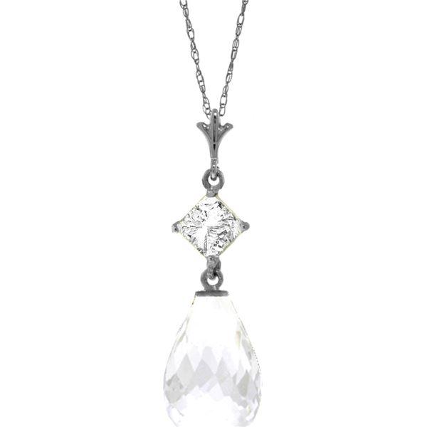 Genuine 5.5 ctw White Topaz Necklace 14KT White Gold - REF-22P2H
