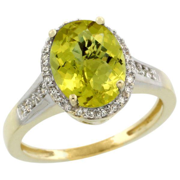 2.60 CTW Lemon Quartz & Diamond Ring 10K Yellow Gold - REF-46K2W