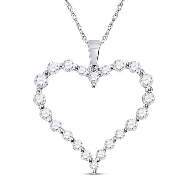 Round Diamond Outline Heart Pendant 1 Cttw 14KT White Gold