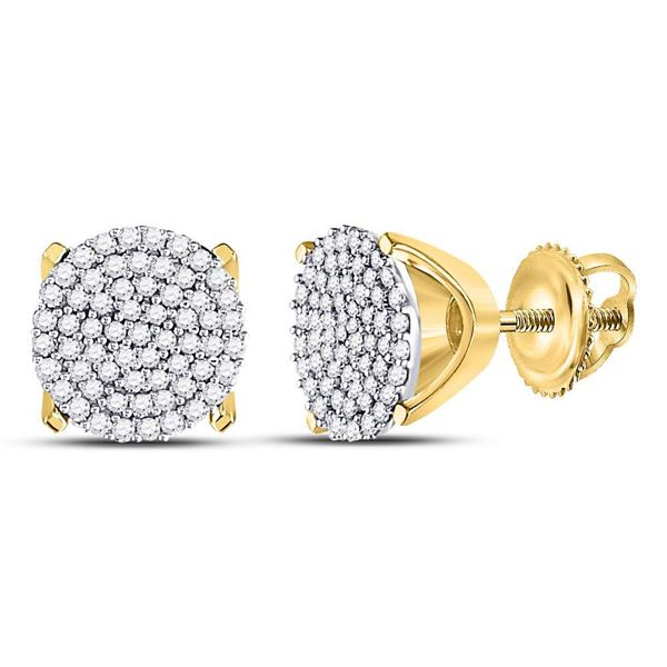 Round Diamond Circle Cluster Stud Earrings 1/3 Cttw 10KT Yellow Gold