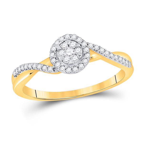 Round Diamond Twist Flower Cluster Ring 1/5 Cttw 14KT Yellow Gold