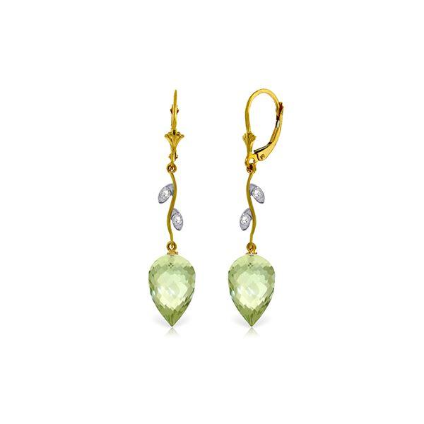 Genuine 19.02 ctw Green Amethyst & Diamond Earrings 14KT Yellow Gold - REF-51Z9N