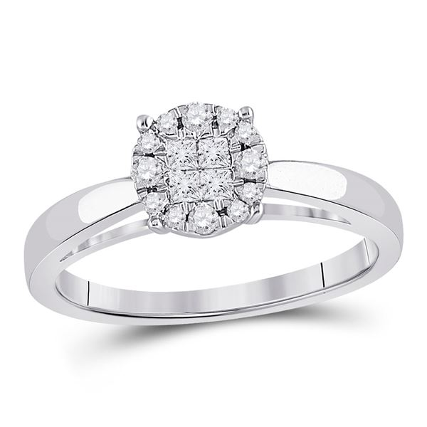 Cluster Bridal Wedding Engagement Ring 1/4 Cttw 14KT White Gold