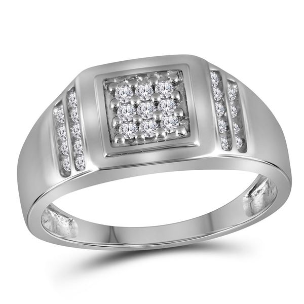 Round Diamond Square Cluster Ring 1/4 Cttw 10KT White Gold