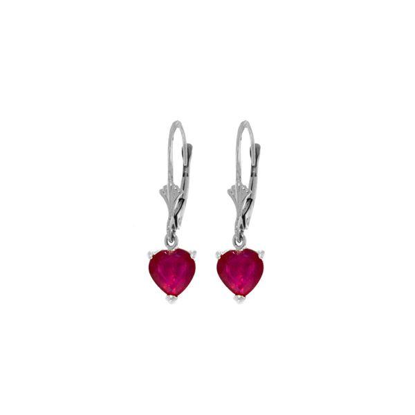 Genuine 2.9 ctw Ruby Earrings 14KT White Gold - REF-39T3A