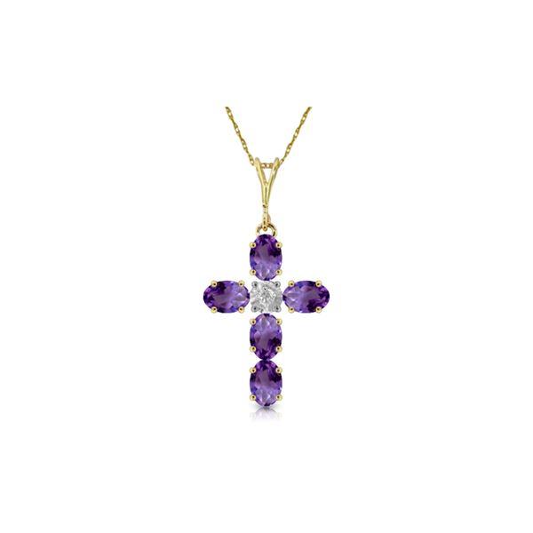 Genuine 1.75 ctw Amethyst & Diamond Necklace 14KT Yellow Gold - REF-39K8V